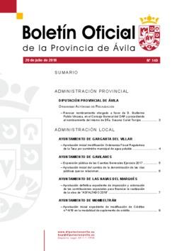Boletín Oficial de la Provincia del viernes, 20 de julio de 2018