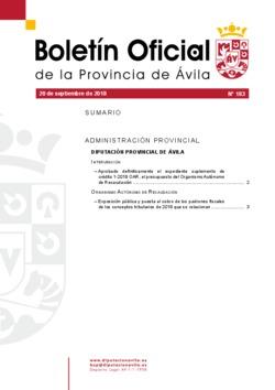 Boletín Oficial de la Provincia del jueves, 20 de septiembre de 2018