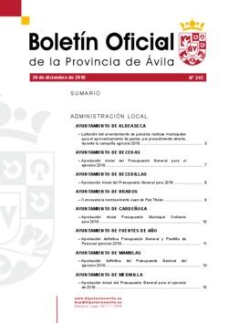 Boletín Oficial de la Provincia del jueves, 20 de diciembre de 2018