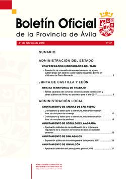 Boletín Oficial de la Provincia del miércoles, 21 de febrero de 2018