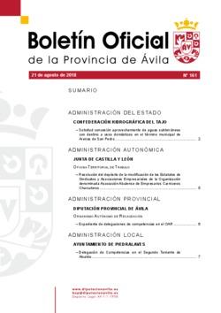 Boletín Oficial de la Provincia del martes, 21 de agosto de 2018
