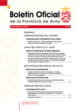 Boletín Oficial de la Provincia del jueves, 22 de febrero de 2018