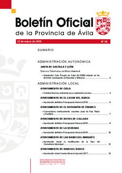Boletín Oficial de la Provincia del jueves, 22 de marzo de 2018