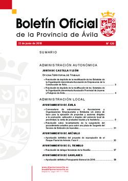 Boletín Oficial de la Provincia del viernes, 22 de junio de 2018