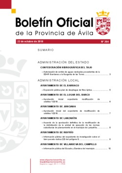 Boletín Oficial de la Provincia del lunes, 22 de octubre de 2018