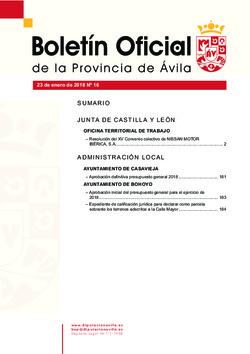 Boletín Oficial de la Provincia del martes, 23 de enero de 2018