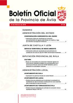 Boletín Oficial de la Provincia del viernes, 23 de febrero de 2018