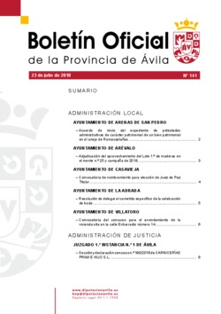 Boletín Oficial de la Provincia del lunes, 23 de julio de 2018