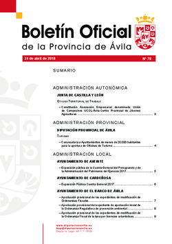 Boletín Oficial de la Provincia del martes, 24 de abril de 2018