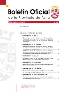 Boletín Oficial de la Provincia del lunes, 24 de septiembre de 2018