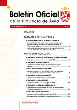 Boletín Oficial de la Provincia del jueves, 25 de enero de 2018