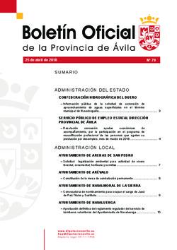 Boletín Oficial de la Provincia del miércoles, 25 de abril de 2018