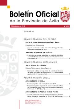 Boletín Oficial de la Provincia del lunes, 25 de junio de 2018