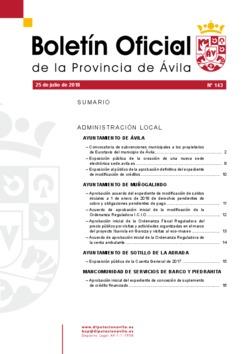 Boletín Oficial de la Provincia del miércoles, 25 de julio de 2018