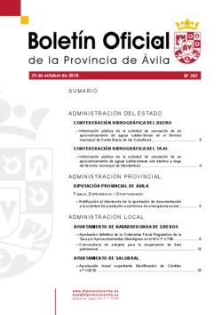 Boletín Oficial de la Provincia del jueves, 25 de octubre de 2018