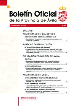 Boletín Oficial de la Provincia del lunes, 26 de febrero de 2018