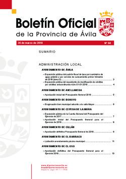 Boletín Oficial de la Provincia del lunes, 26 de marzo de 2018