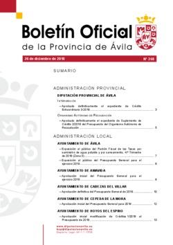 Boletín Oficial de la Provincia del miércoles, 26 de diciembre de 2018