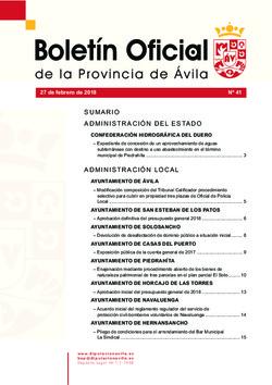 Boletín Oficial de la Provincia del martes, 27 de febrero de 2018