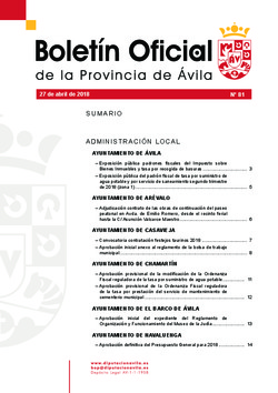 Boletín Oficial de la Provincia del viernes, 27 de abril de 2018