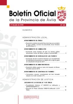 Boletín Oficial de la Provincia del viernes, 27 de julio de 2018
