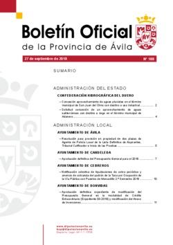 Boletín Oficial de la Provincia del jueves, 27 de septiembre de 2018