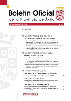 Boletín Oficial de la Provincia del martes, 27 de noviembre de 2018