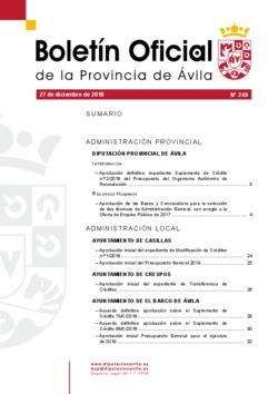 Boletín Oficial de la Provincia del jueves, 27 de diciembre de 2018