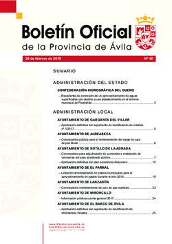 Boletín Oficial de la Provincia del miércoles, 28 de febrero de 2018