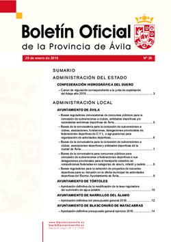 Boletín Oficial de la Provincia del lunes, 29 de enero de 2018