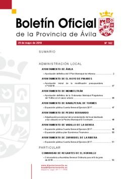 Boletín Oficial de la Provincia del martes, 29 de mayo de 2018