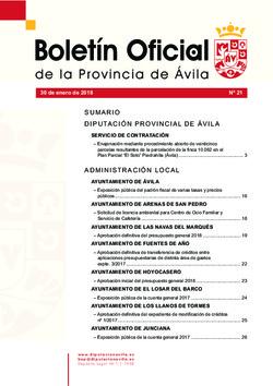 Boletín Oficial de la Provincia del martes, 30 de enero de 2018