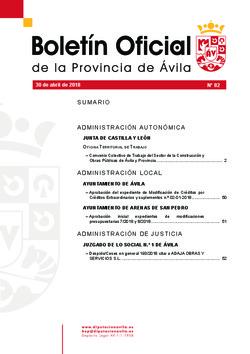 Boletín Oficial de la Provincia del lunes, 30 de abril de 2018