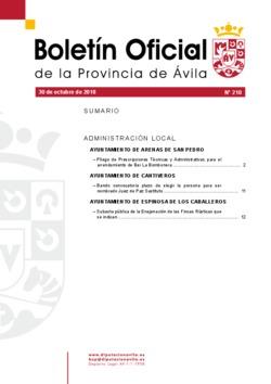 Boletín Oficial de la Provincia del martes, 30 de octubre de 2018
