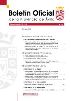 Boletín Oficial de la Provincia del viernes, 30 de noviembre de 2018