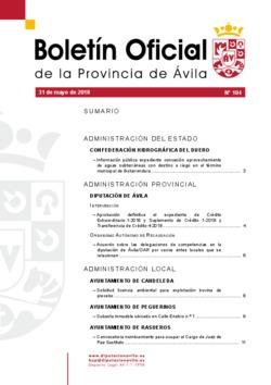 Boletín Oficial de la Provincia del jueves, 31 de mayo de 2018