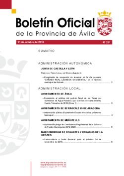 Boletín Oficial de la Provincia del miércoles, 31 de octubre de 2018