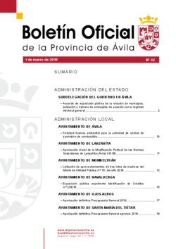 Boletín Oficial de la Provincia del viernes, 1 de marzo de 2019