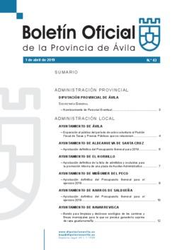Boletín Oficial de la Provincia del lunes, 1 de abril de 2019