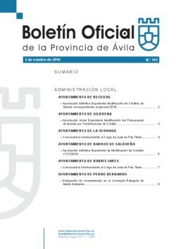 Boletín Oficial de la Provincia del miércoles, 2 de octubre de 2019
