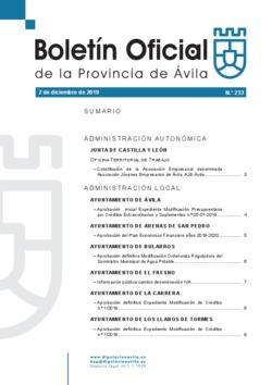 Boletín Oficial de la Provincia del lunes, 2 de diciembre de 2019