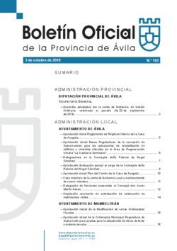 Boletín Oficial de la Provincia del jueves, 3 de octubre de 2019