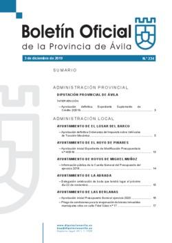 Boletín Oficial de la Provincia del martes, 3 de diciembre de 2019