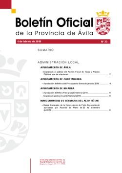 Boletín Oficial de la Provincia del lunes, 4 de febrero de 2019