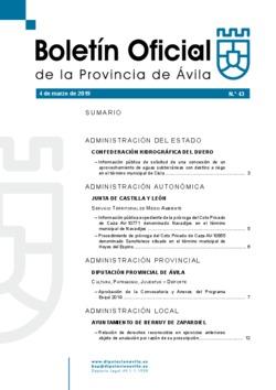 Boletín Oficial de la Provincia del lunes, 4 de marzo de 2019