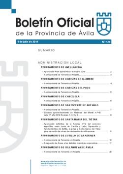 Boletín Oficial de la Provincia del jueves, 4 de julio de 2019