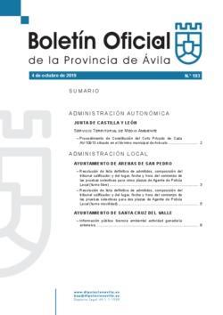 Boletín Oficial de la Provincia del viernes, 4 de octubre de 2019