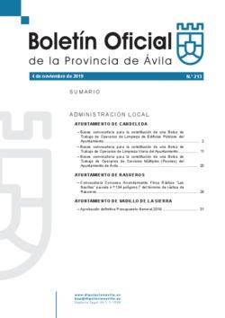 Boletín Oficial de la Provincia del lunes, 4 de noviembre de 2019