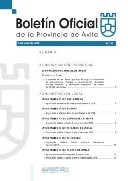 Boletín Oficial de la Provincia del viernes, 5 de abril de 2019