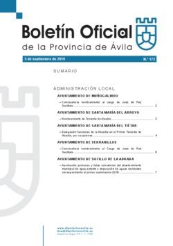 Boletín Oficial de la Provincia del jueves, 5 de septiembre de 2019